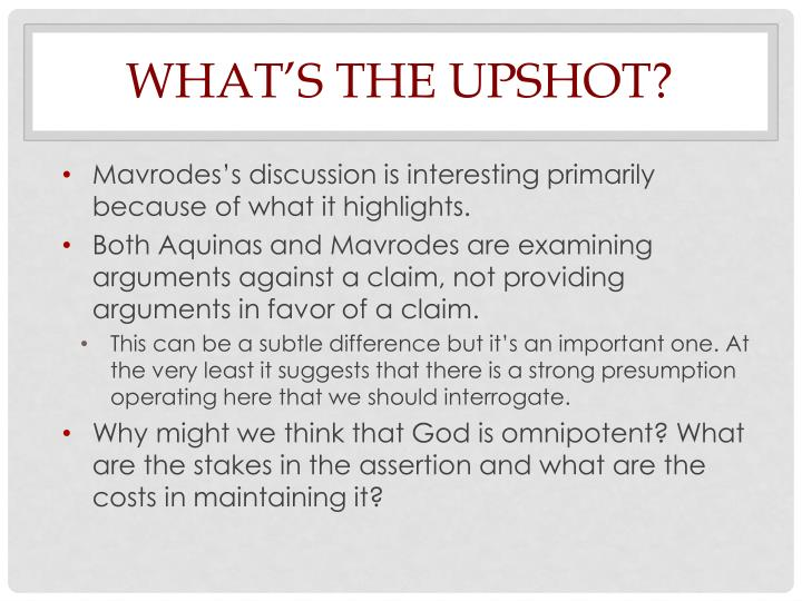 What's the Upshot?