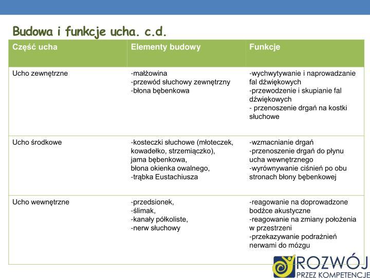Budowa i funkcje ucha. c.d.