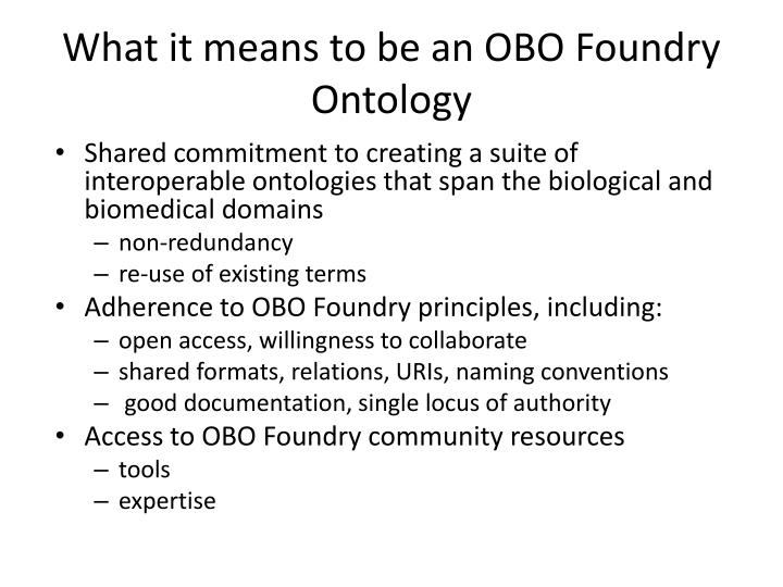 What it means to be an OBO Foundry Ontology