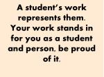 a student s work represents them your work stands in for you as a student and person be proud of it