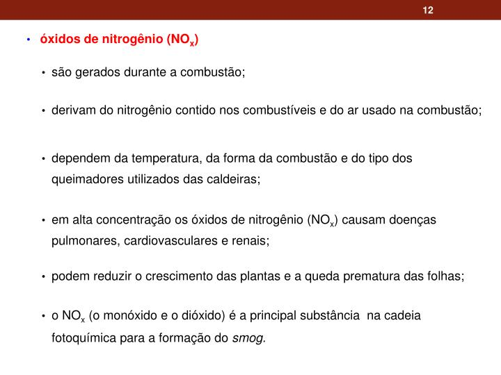 óxidos de nitrogênio
