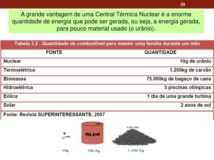A grande vantagem de uma Central Térmica Nuclear é a enorme quantidade de