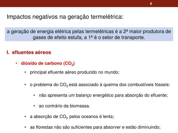 Impactos negativos na geração termelétrica: