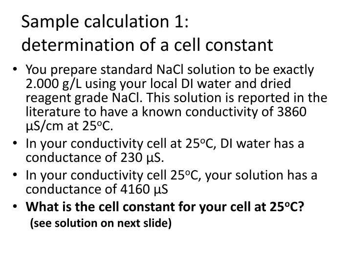 Sample calculation 1: