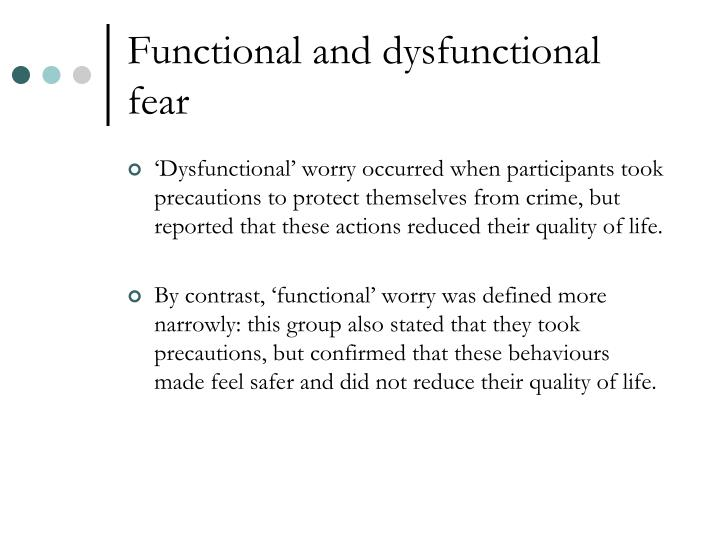 Functional and dysfunctional fear