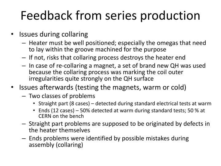 Feedback from series production