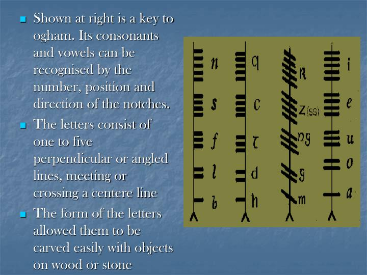Shown at right is a key to ogham. Its consonants and vowels can be recognised by the number, position and direction of the notches.