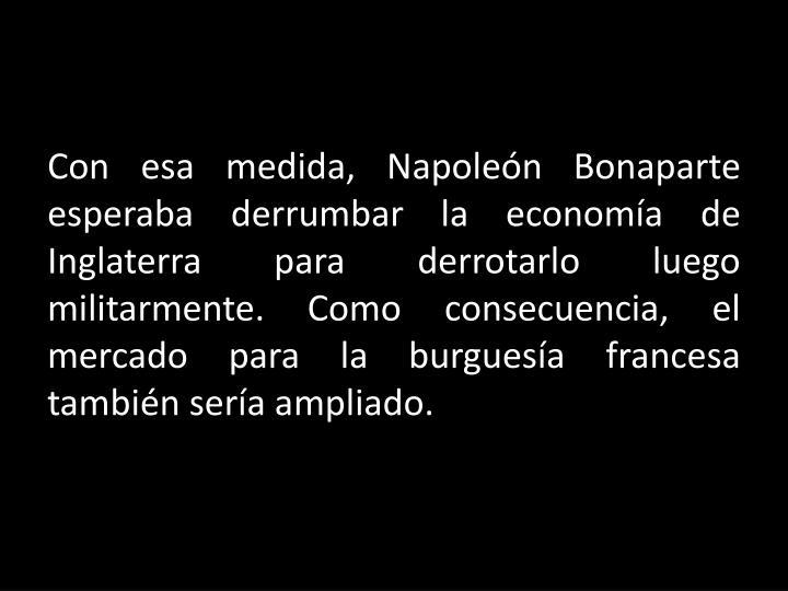 Con esa medida, Napoleón Bonaparte esperaba derrumbar la economía de Inglaterra para derrotarlo luego militarmente. Como consecuencia, el mercado para la burguesía francesa también sería ampliado.