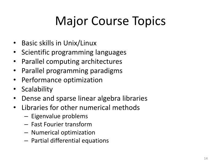 Major Course Topics