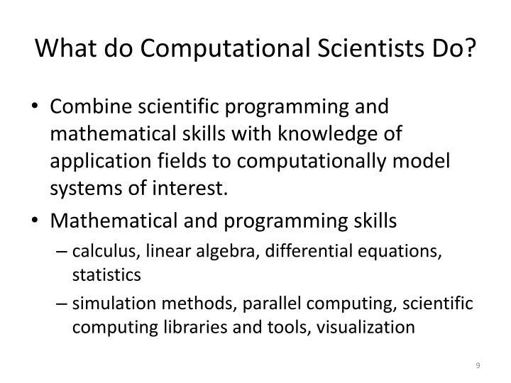 What do Computational Scientists Do?