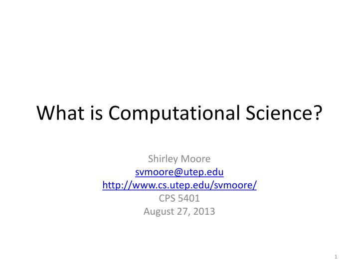 What is computational science