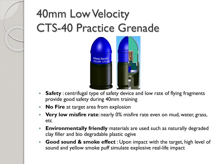 40mm low velocity cts 40 practice grenade