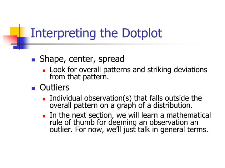 Interpreting the Dotplot