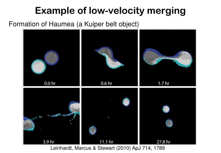 Example of low-velocity merging