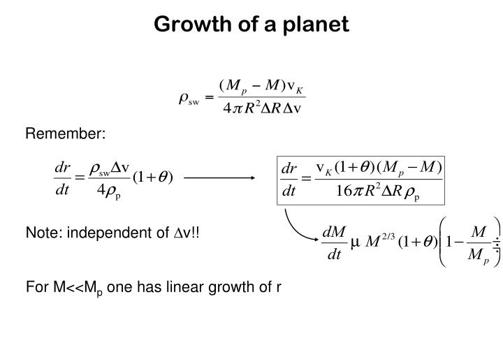 Growth of a planet