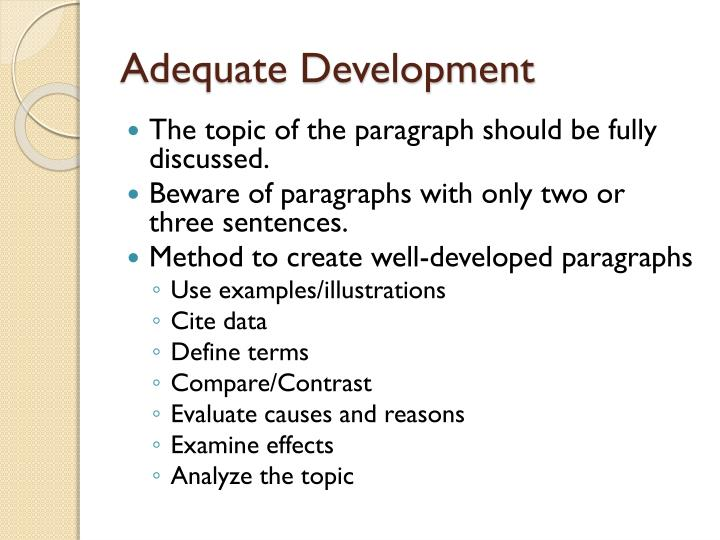 Adequate Development