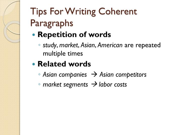 Tips For Writing Coherent Paragraphs
