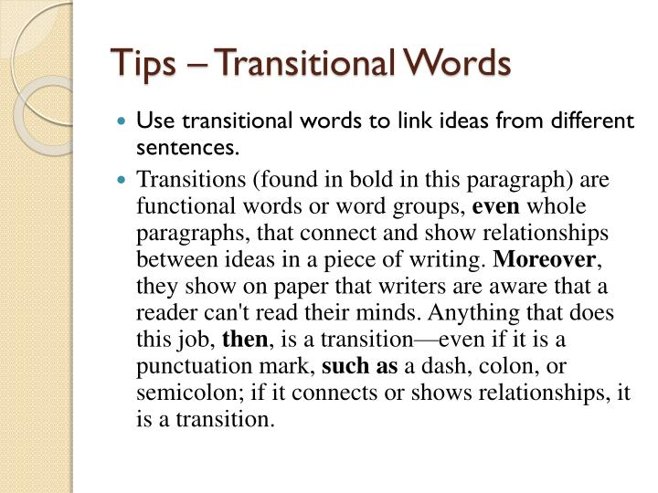 Tips – Transitional Words
