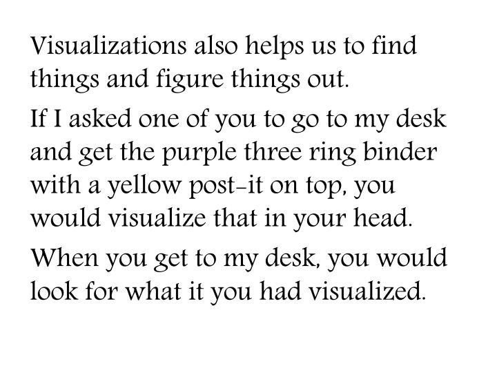 Visualizations also helps us to find things and figure things out.