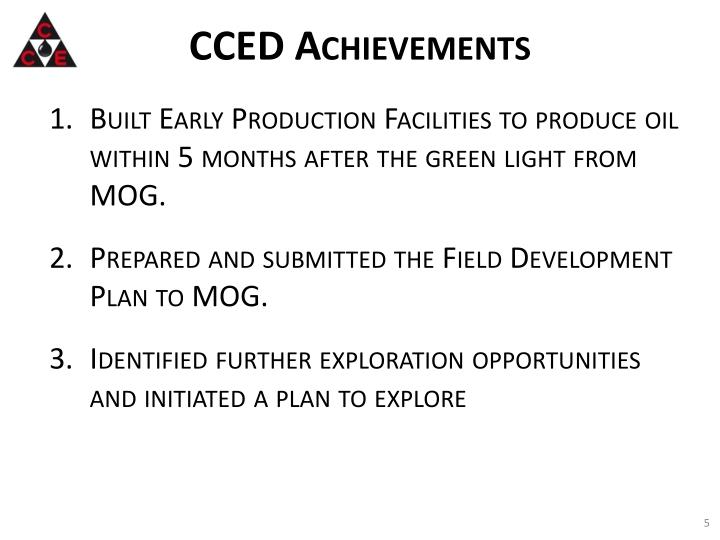 CCED Achievements
