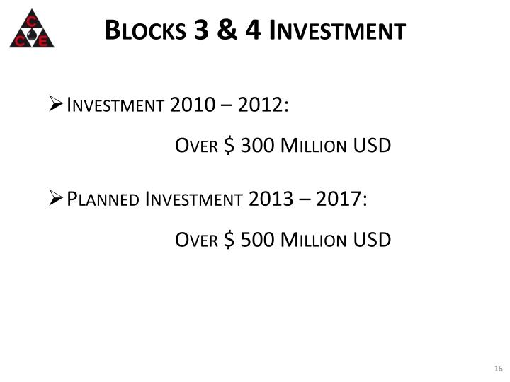 Blocks 3 & 4 Investment