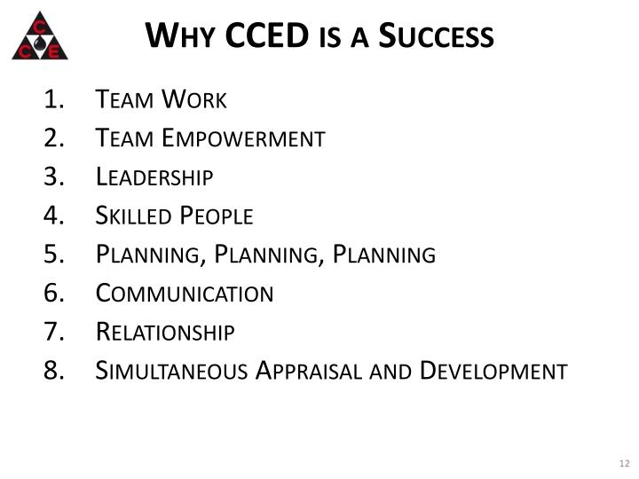 Why CCED is a Success