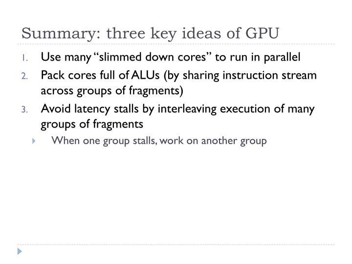 Summary: three key ideas of GPU