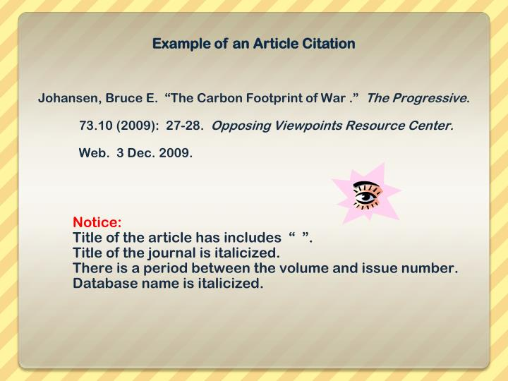 Example of an Article Citation