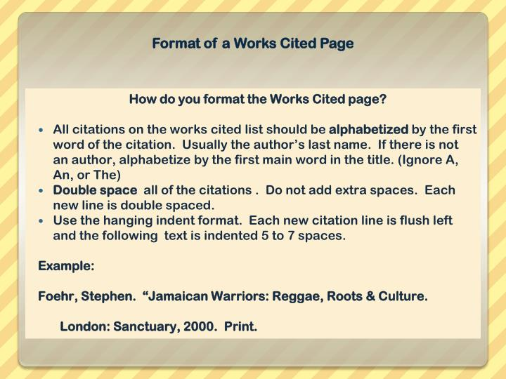 Format of a Works Cited Page