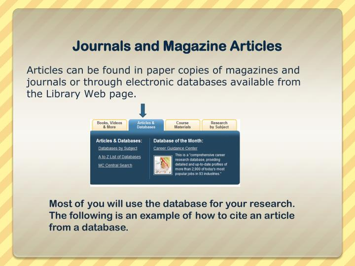 Journals and Magazine Articles