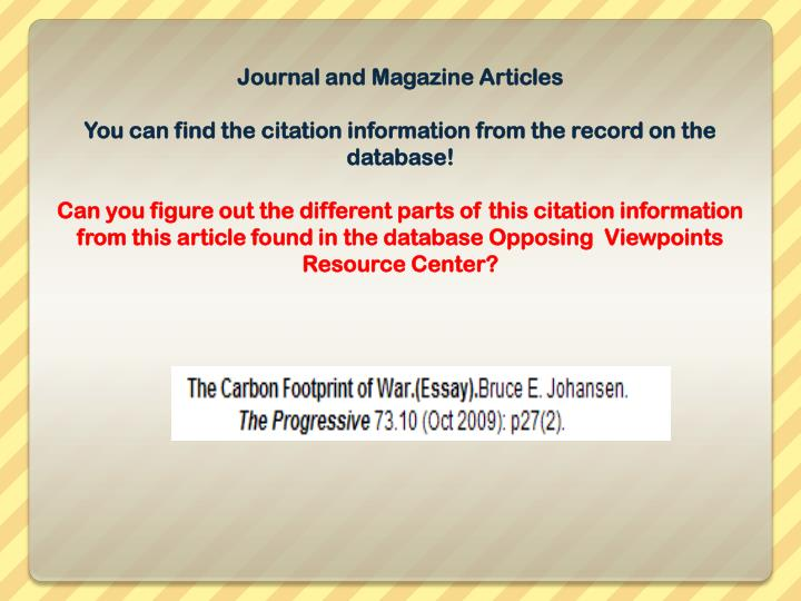 Journal and Magazine Articles