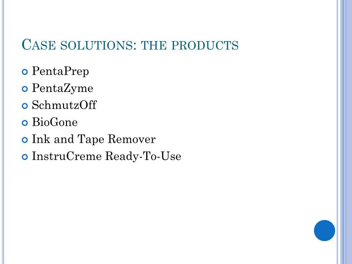 Case solutions: the products