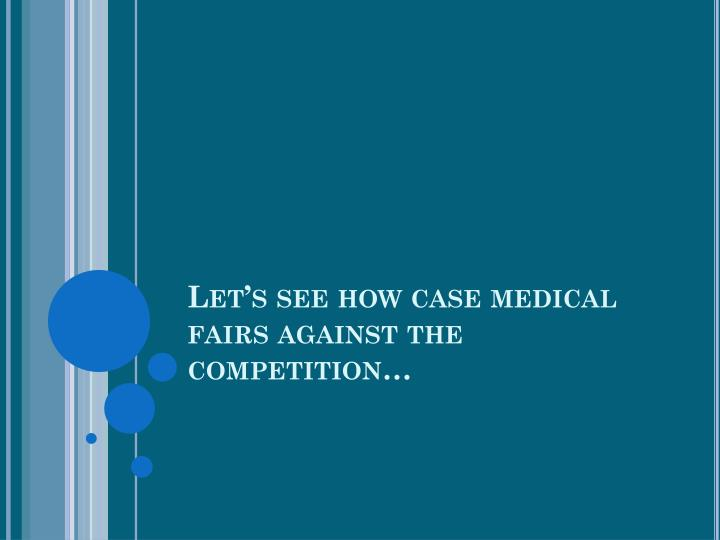 Let's see how case medical fairs against the competition…