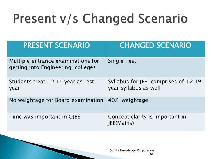 Present v/s Changed Scenario