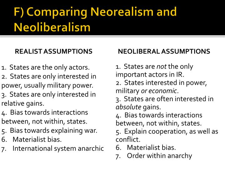 F) Comparing Neorealism and Neoliberalism