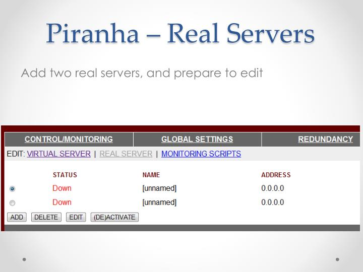 Piranha – Real Servers