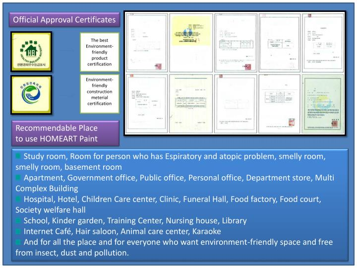 Official Approval Certificates