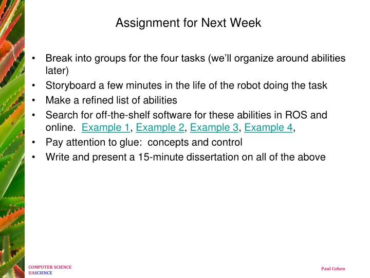 Assignment for Next Week
