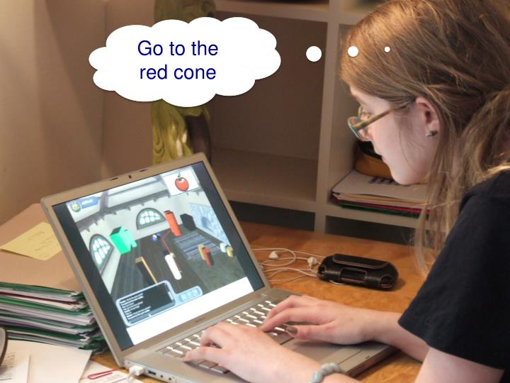 Go to the red cone