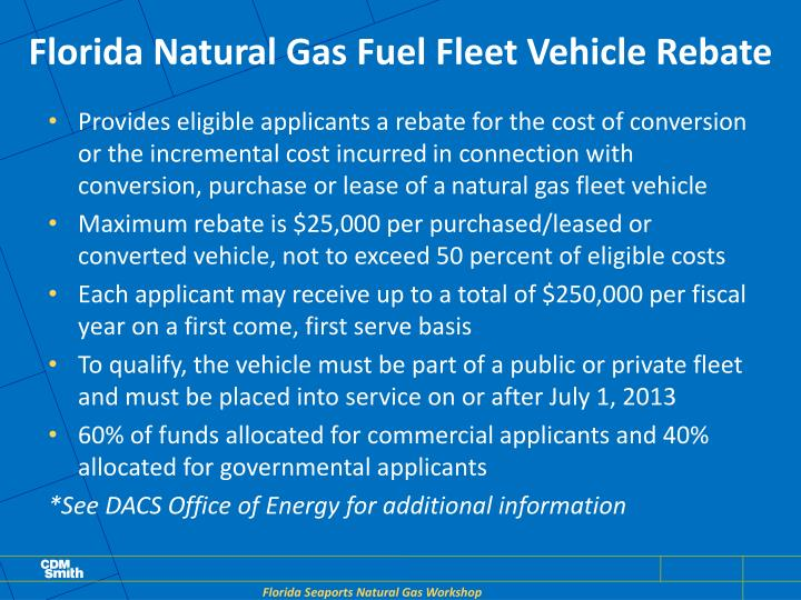 Florida Natural Gas Fuel Fleet Vehicle Rebate