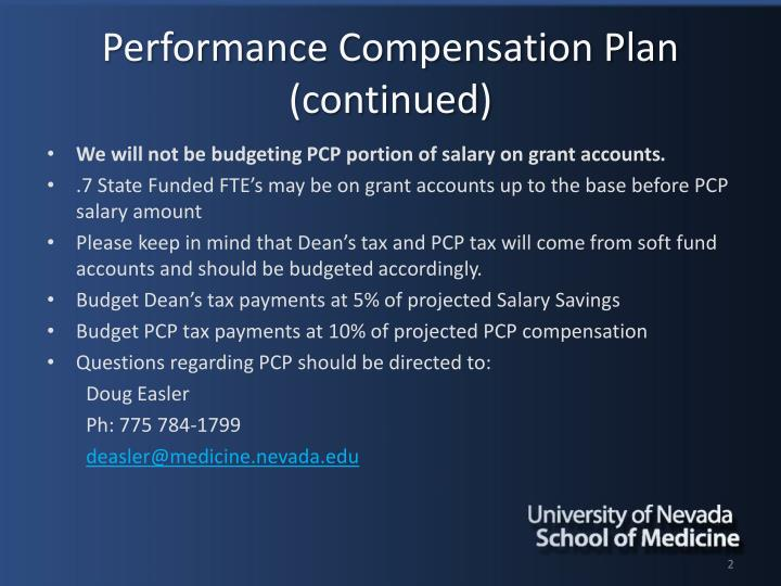 Performance compensation plan continued