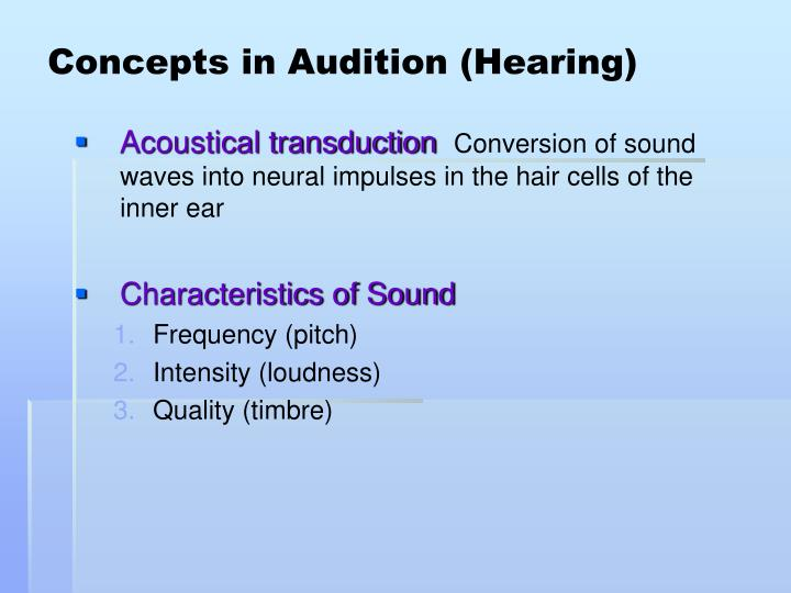 Concepts in Audition (Hearing)