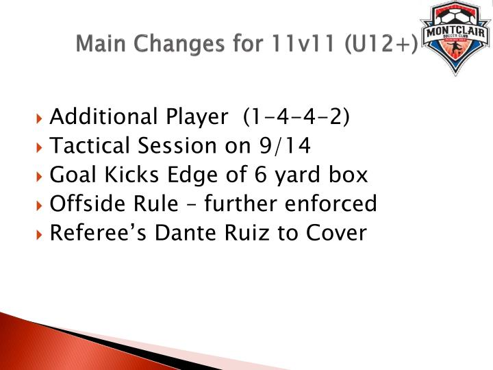 Main Changes for 11v11 (U12+)