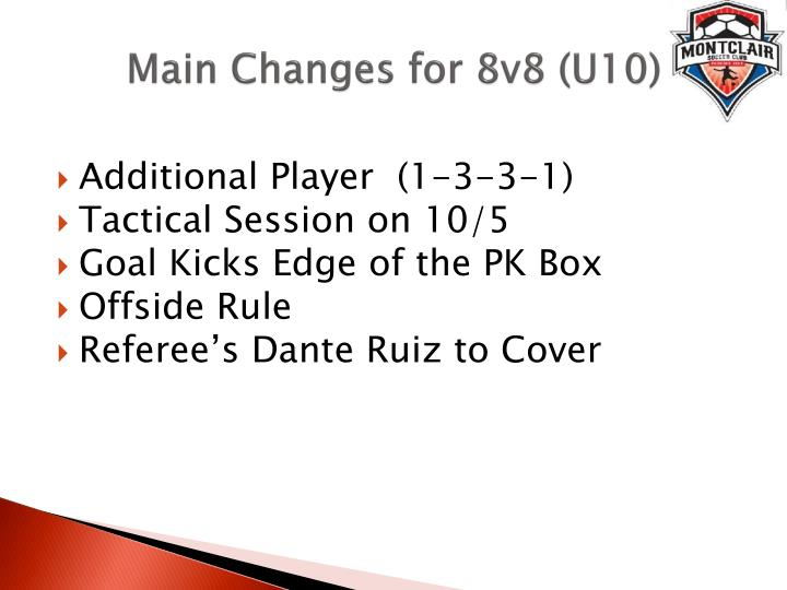 Main changes for 8v8 u10