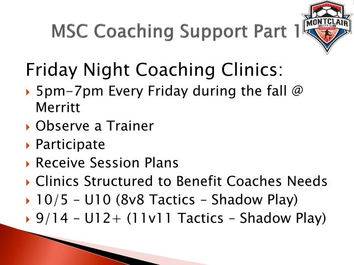 MSC Coaching Support Part 1