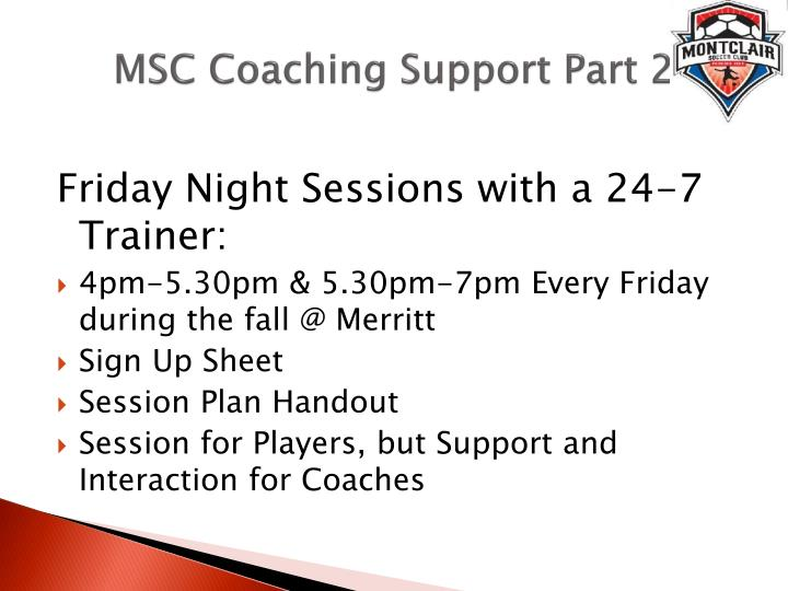 MSC Coaching Support Part 2