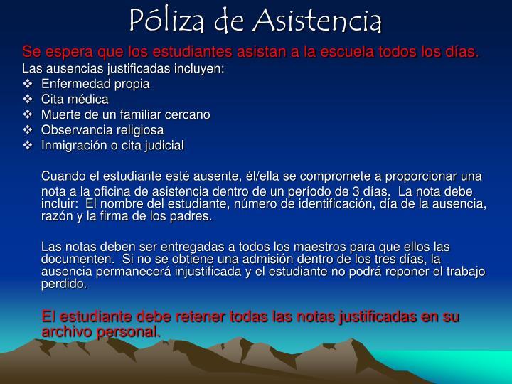 Póliza de Asistencia