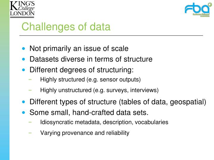 Challenges of data