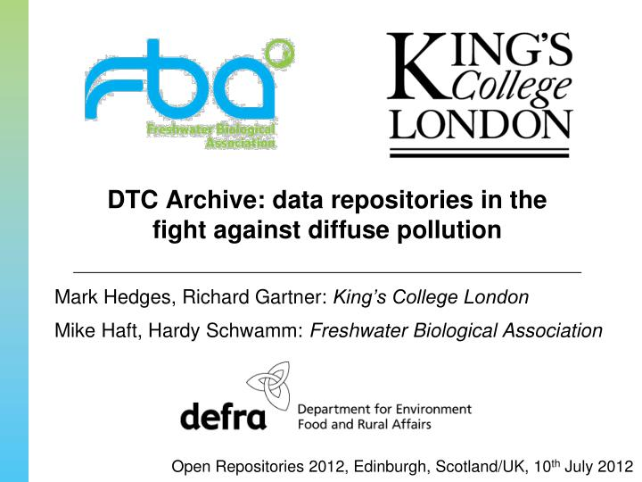 Dtc archive data repositories in the fight against diffuse pollution