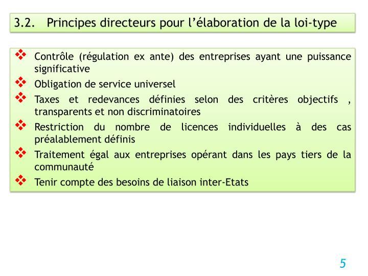 3.2.   Principes directeurs pour l'élaboration de la loi-type